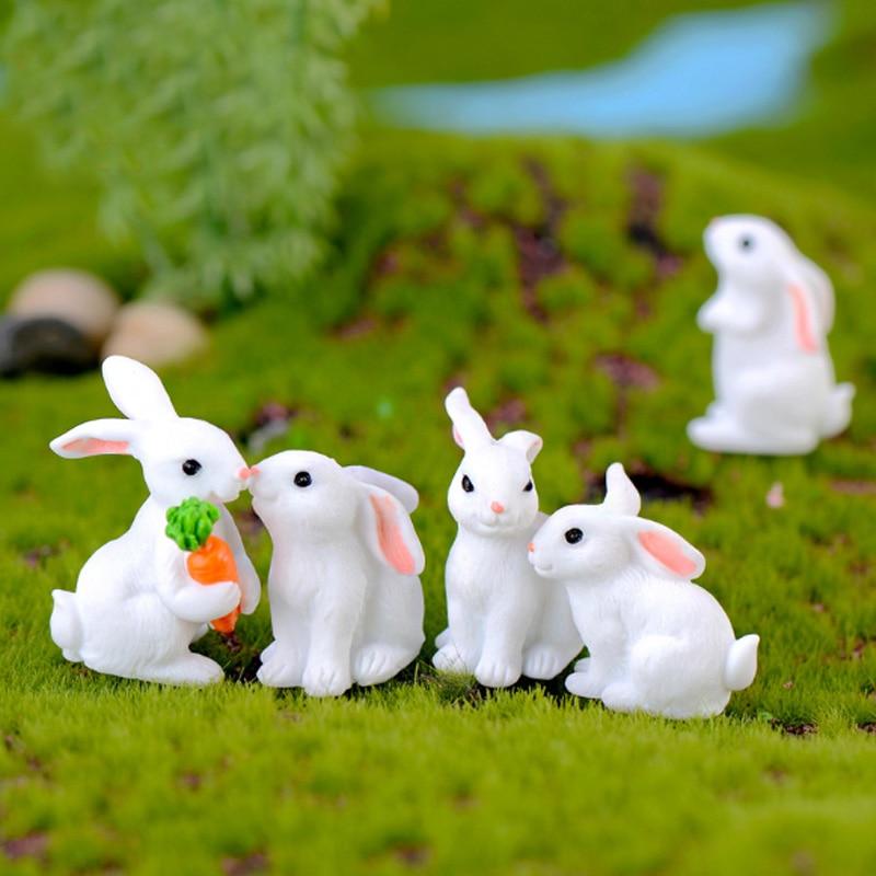 Joli lapin en résine décoration de pâques   7 pièces, Figurine danimaux en forme de lièvre Miniature, Mini lapin artisanal en résine, ornement de jardin, décor aaérien bricolage