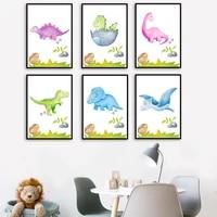 Peinture de dessin anime Animal dinosaure mignon nordique  affiche en toile de qualite  decoration murale pour la maison  chambre denfant  images