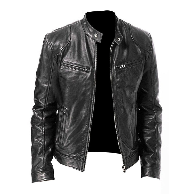 Модные мужские кожаные куртки, новинка, пальто из искусственной кожи, Мужская Меховая куртка на молнии со стандартным воротником, мужская о...