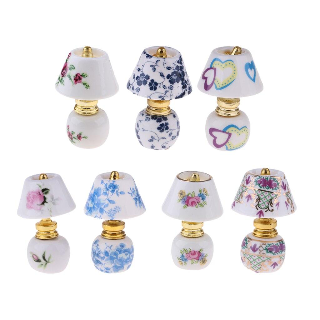 112 casa de muñecas decoración en miniatura cerámica junto a la lámpara modelo de luz con cubierta de luz blanca