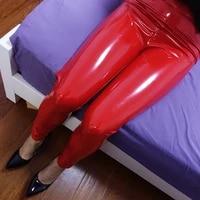 plastic lovers super bright patent leather bag hip pants female pu mirror elastic plus size high waist leather leggings