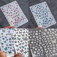 5d nail stickers embossed engraved rose flower manicure new diy decal adhesive nail art sticker