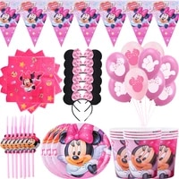disney pink minnie mouse theme party supplies paper cups plates caps straws gift bags kids girl birthday party baby shower decor