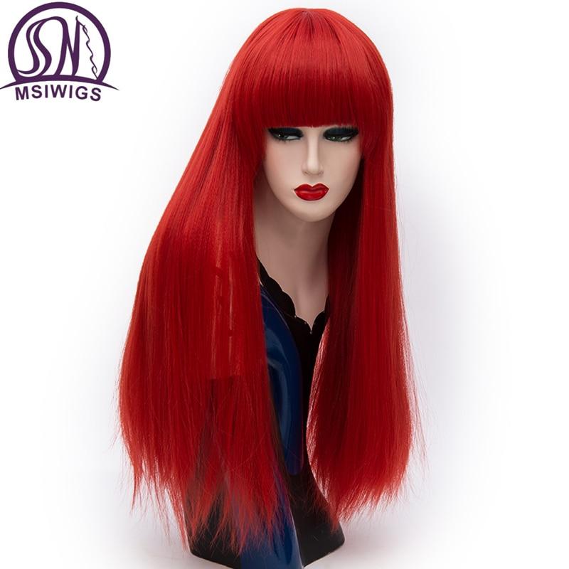 MSIWIGS Длинные прямые парики красные парики синтетические натуральные термостойкие волокна волос белый фиолетовый зеленый коричневый коспл...
