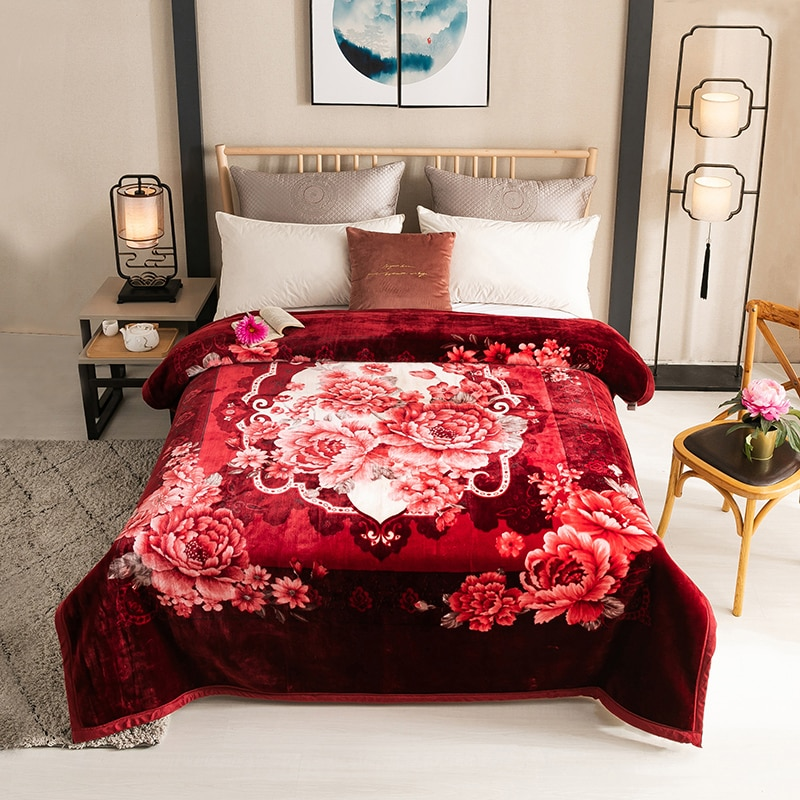 Rojo vibrante/púrpura colcha de flores Coverlet pesado cálido Manta polar de felpa para invierno reina tamaño 200X230cm