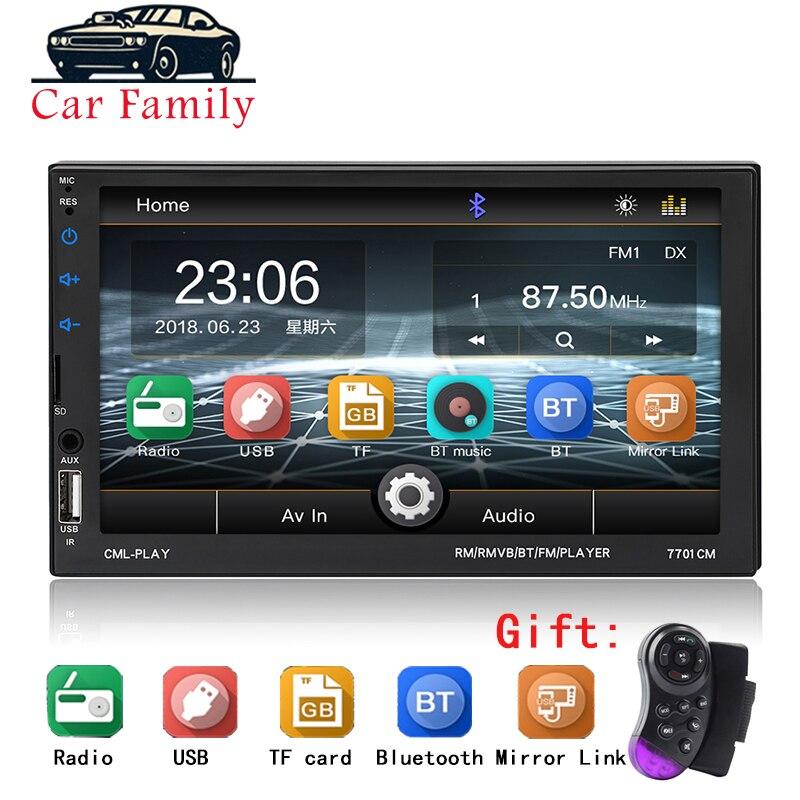 "Car Radio Bluetooth 7"" Touch Screen BT Hands-free AUX USB FM Auto Audio Steering Wheel Control MP5 Player Autoradio 2 Din"