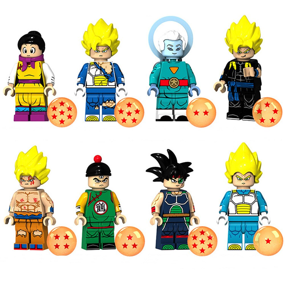 8 unids/set DISNEY Dragon Ball Z bloques de construcción ladrillos Daishinkan bardana hijo de Goku Vegeta Super Saiyan de figuras de acción juguetes muñecas