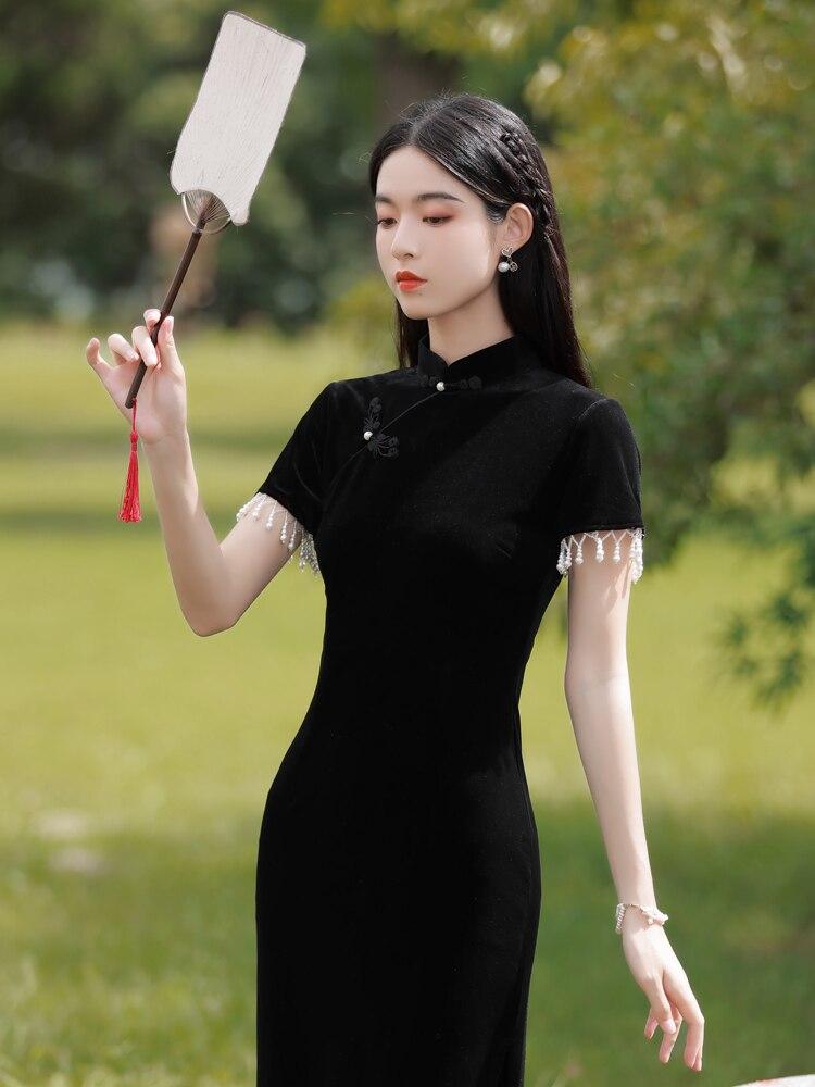 المخملية شيونغسام 2021 جمهورية الصين الجديدة الرجعية أسود طويل أنيق تحسين فستان الشباب الخريف