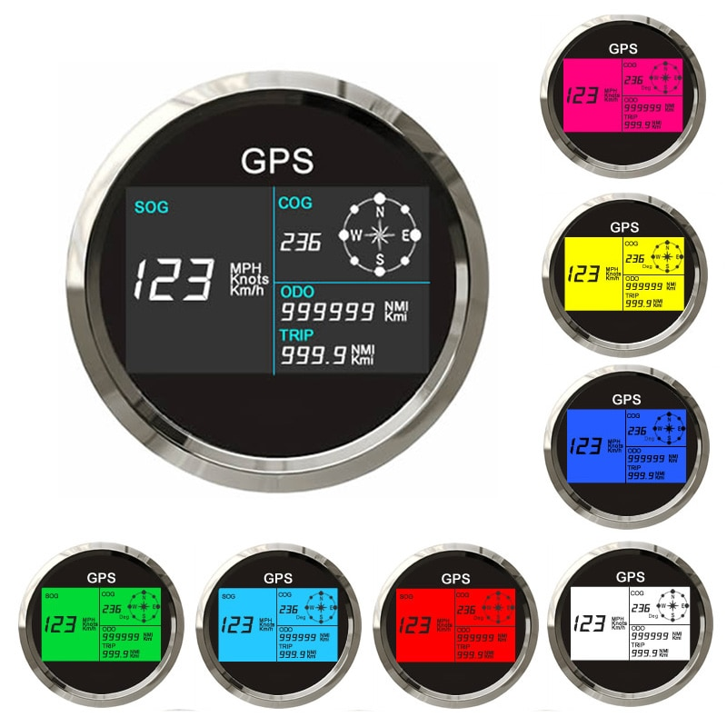 Velocímetro Digital LCD GPS de 85mm con odómetro de retroiluminación de 7 colores, contador de kilometraje ajustable para barco de coche 12V 24V