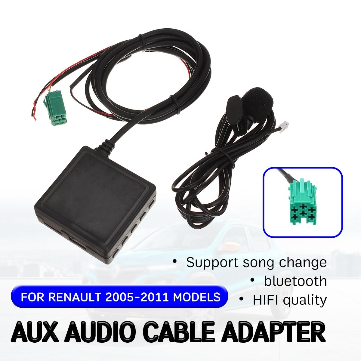 Cable receptor auxiliar bluetooth para Renault Clio,Kangoo,Megane 2005-2011 con USB, micrófono manos libres Aux Adapter