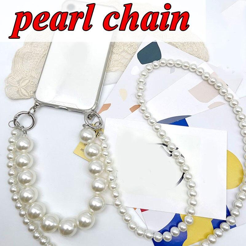 Faux Pearl Purse Bag Handbag Chain New Pearl Chain Multifunctional Phone Chain Long Pearl Hanging Chain Luggage Accessories Hot faux pearl espadrille flatform sliders