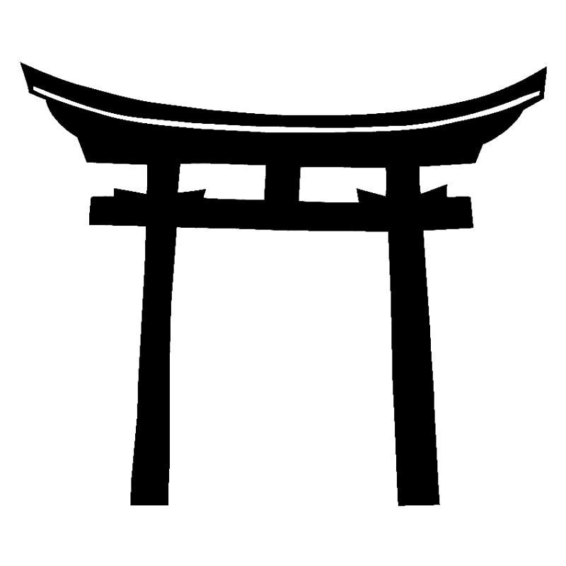 Shinto Torii para puerta, accesorio para ordenador, pegatina para ordenador, 15cm x 12,6 cm