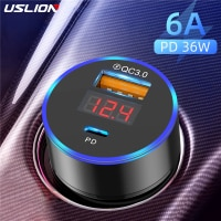 USLION USB Car Charger Quick Charge 3.0 Fast Charging Charger For iPhone 11 Xiaomi Mi Auto Type C QC PD 3.0 Mobile Phone Charger