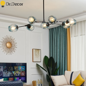Nordic LOFT Glass LED Chandelier Lighting Living Room Bedroom Modern Luxury Kitchen Hanging Lamp Ball Luster Ceiling Chandeliers