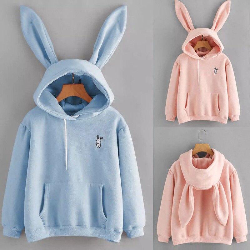 ¡Novedad de moda! Bonita sudadera Kawaii de manga larga con orejas de conejo para mujer, Jersey, Tops, blusa, abrigo