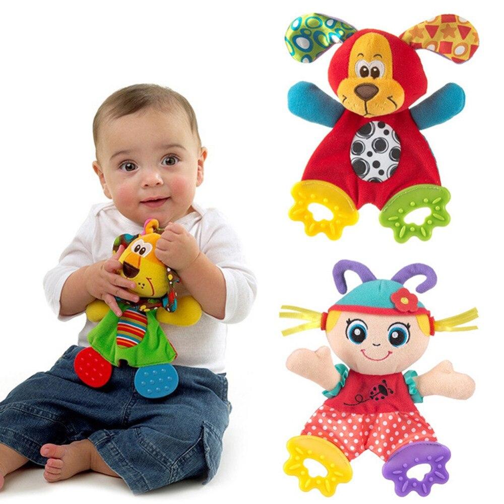 Bebê recém-nascido bonito playmate boneca de pelúcia brinquedos crianças dos desenhos animados animais mão sinos chocalhos brinquedo do bebê mordedor crianças dentição brinquedos para o bebê