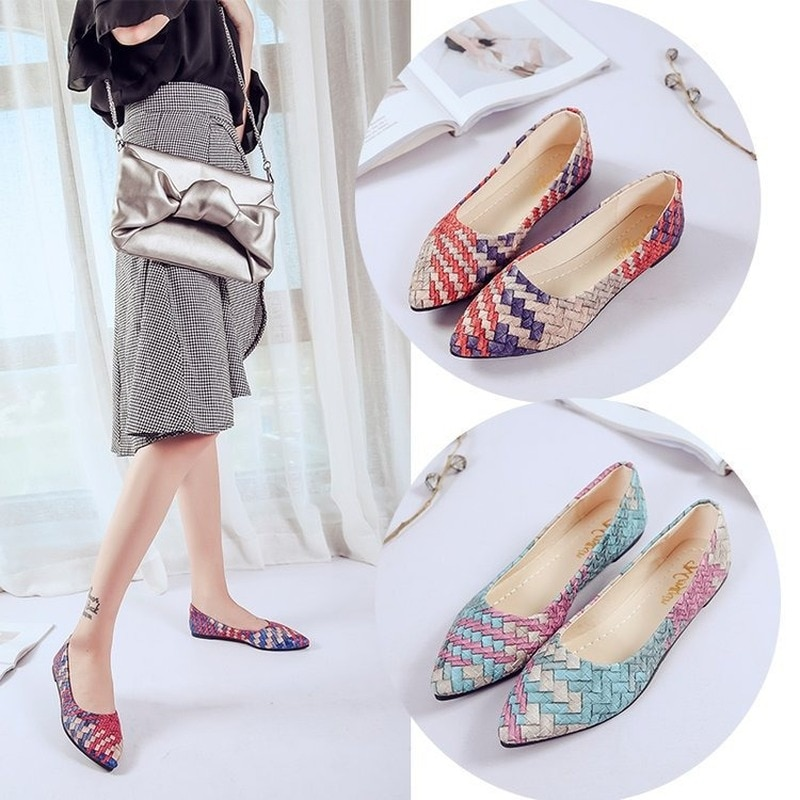 2021 New Style Flat Shoes Women's Singles Shoes Pointed Toe Flat Pumps Korean Style Simple Shoes Women's Shoes