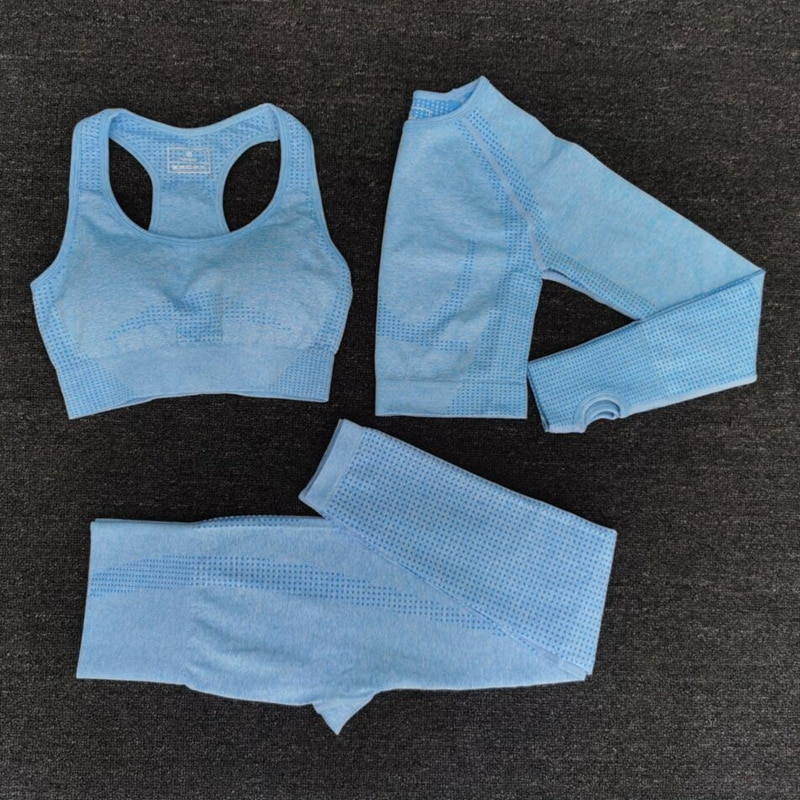 2021 Women Seamless Yoga Set Fitness Sports Suits GYM Cloth Yoga Long Sleeve Shirts High Waist Running Leggings Workout Clothing