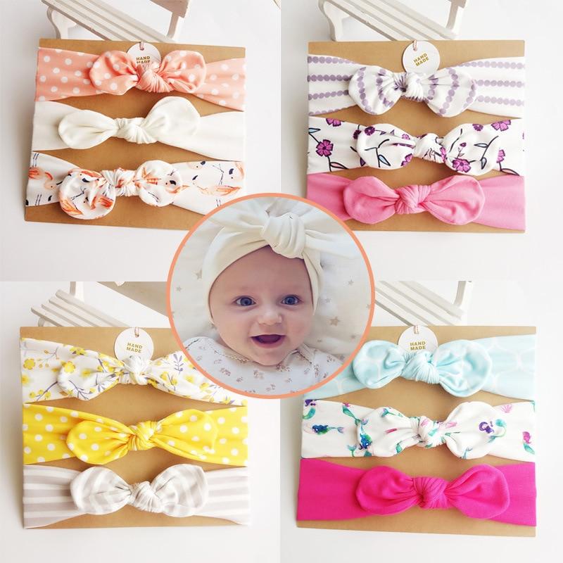 3 Pcs/set Baby Headbands Rabbit Ear Headbands for Women Turban Dot Bowknot Elastic Hairband Cotton Baby Hedbands Accessories