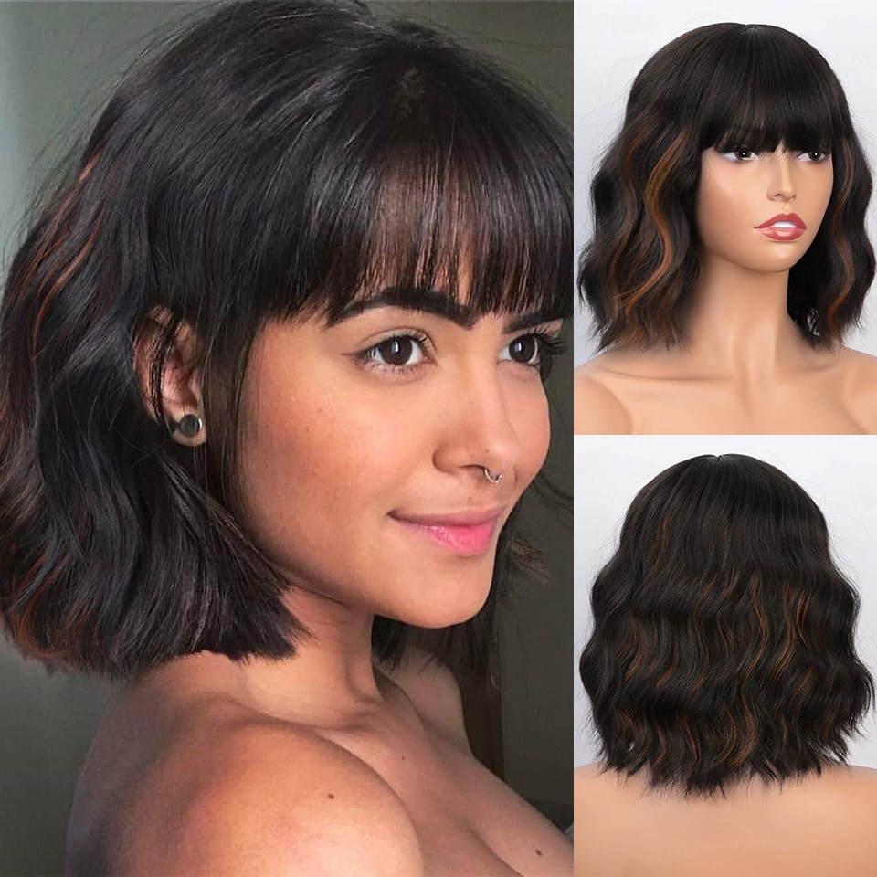 Isaic Synthetic Short Wavy Bob Wigs with Bangs Black Mix and Brown Wigs for Women Natural Looking Heat Resistant Fiber Wigs
