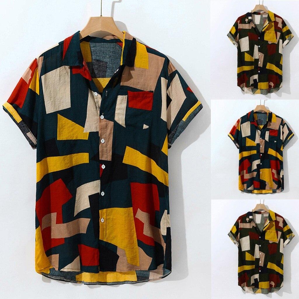 Print Merk Zomer Heet Verkoop Mannen Strand Shirt Fashion Korte Mouw Bloemen Losse Casual Shirts Plus Aziatische Size Losse hawaiian # G1