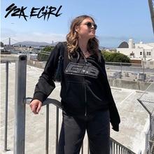 Y2k egirl 90s moda rhinestone zip up oversized hoodies indie estética carta gráfico de manga longa camisolas outono outfits