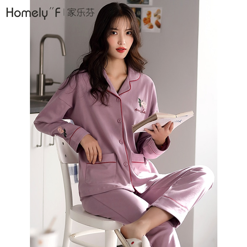 Pajamas Women's Spring and Autumn Cotton Long-Sleeved Home Wear Cotton Spring Thin Spring plus Size