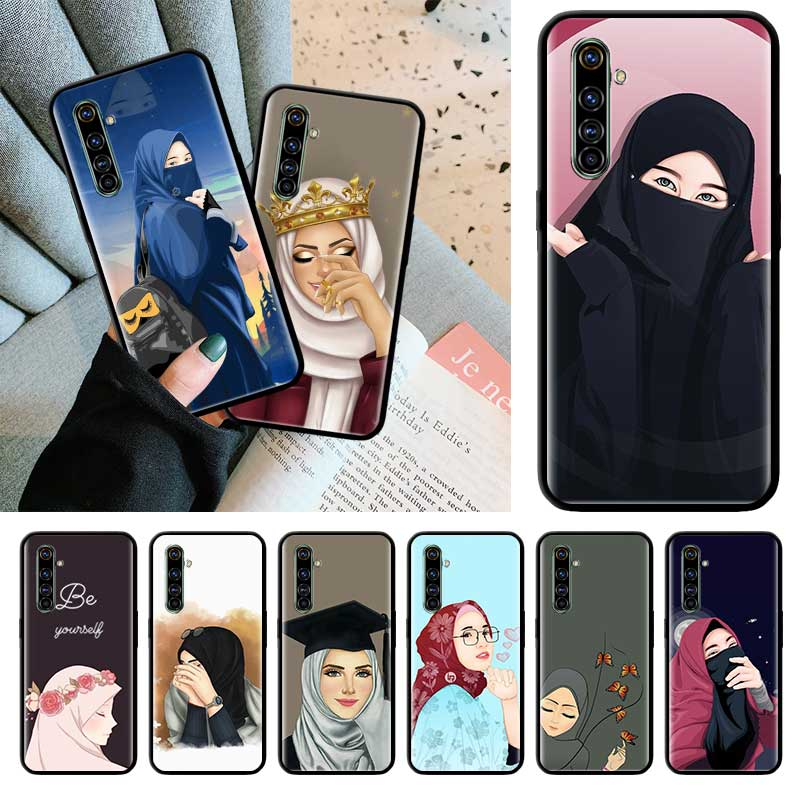 Islâmico muçulmano hijabi mulher preto tpu capa para realme 6 6i 5 5i c3 xt x2 pro x50 5g narzo 10 10a casos sac macio escudo do telefone