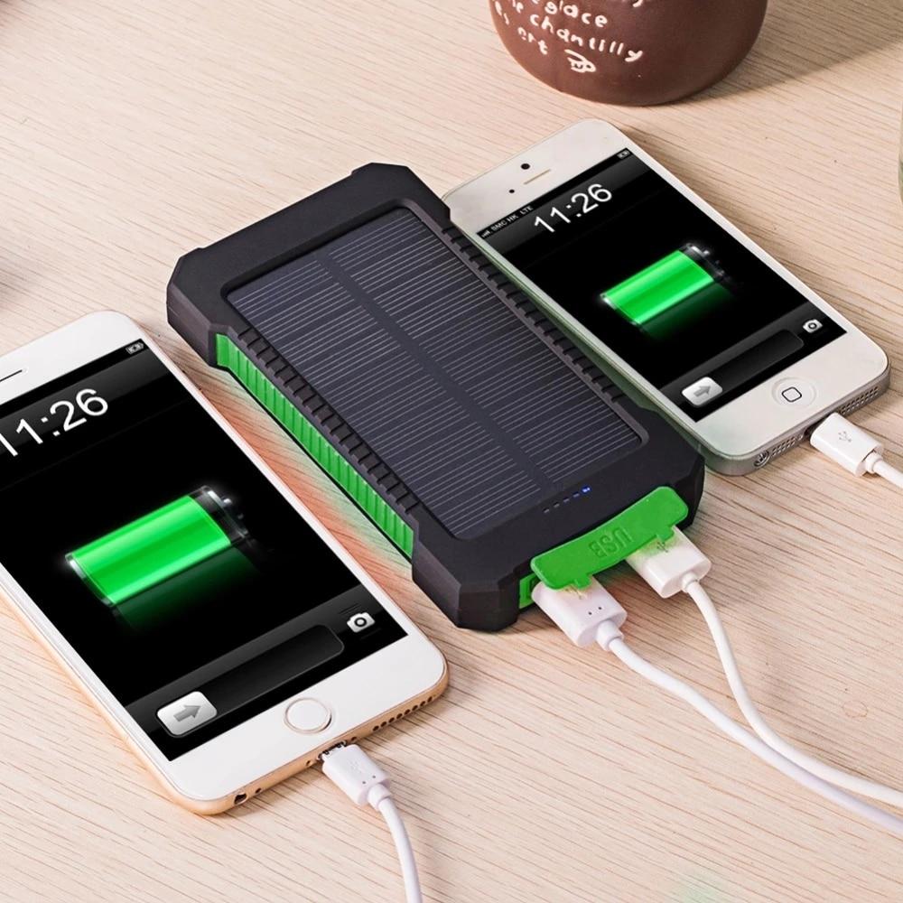 Banco de energía Solar resistente al agua, cargador Solar de 30000mAh, puertos USB, cargador externo para teléfono inteligente Xiaomi con luz LED