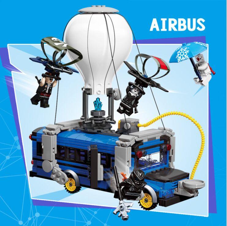 En existencia fortaleza Night Airbus modelo avión bloques de construcción fortnighting bloques para hacer avión juguetes para niños regalos