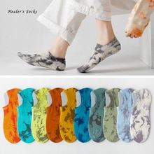 Personality Tie-dye Men and Women Socks Cotton Colorful Vortex Summer HipHop Skateboard Fashion Funny Soft Classic Short Socks