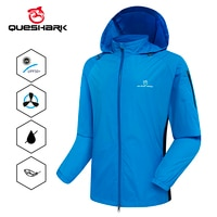 QUESHARK Men Windproof Waterproof Reflective Cycling Jacket MTB Bicycle Long Sleeve Windbreaker Bike Coat Hide Hat Jersey
