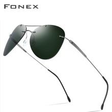 Fonx 티타늄 합금 TR90 무테 선글라스 남자 Ultralight Screwless 여자 파일럿 항공 편광 된 태양 안경 남자 851