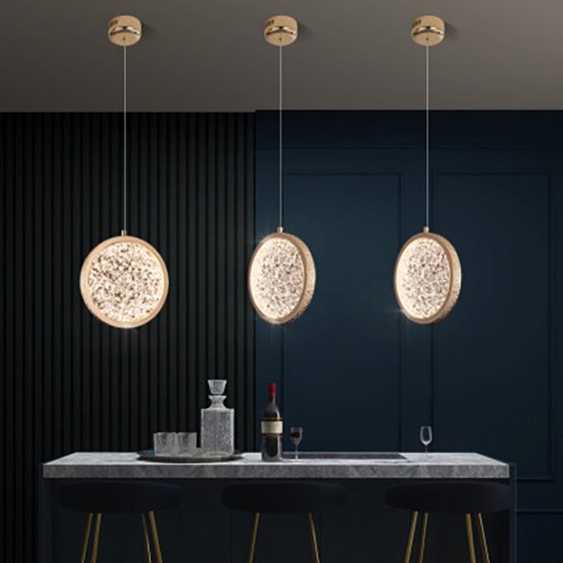 مصباح زجاجي معلق LED مع سلك قابل للتعديل ، مصباح زجاجي دائري ذهبي ، مصباح ديكور داخلي ، مثالي للبار أو المطعم أو قاعة الفندق.