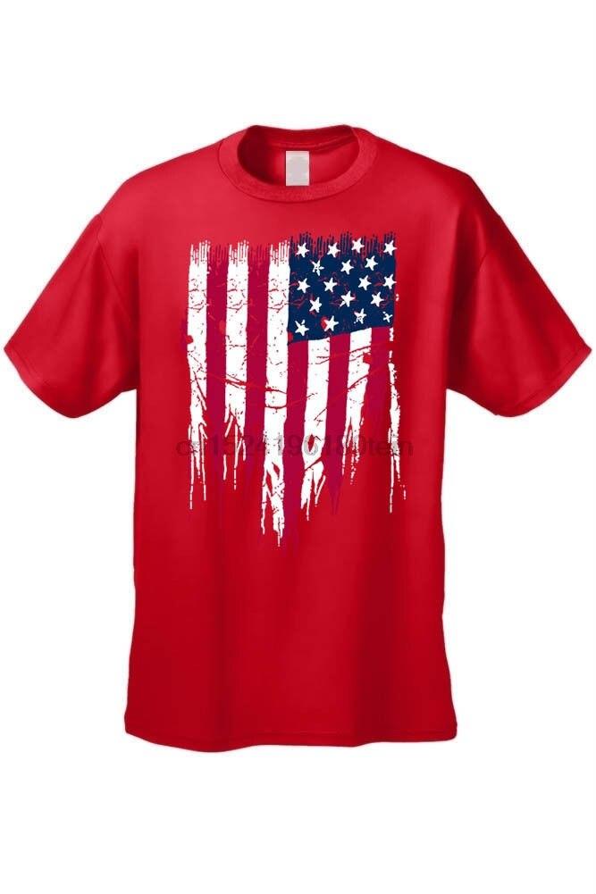 Camiseta roja VINTAGE de EE. UU. Rasgada bandera americana desgastada estrellas rasgadas S-4X 5X