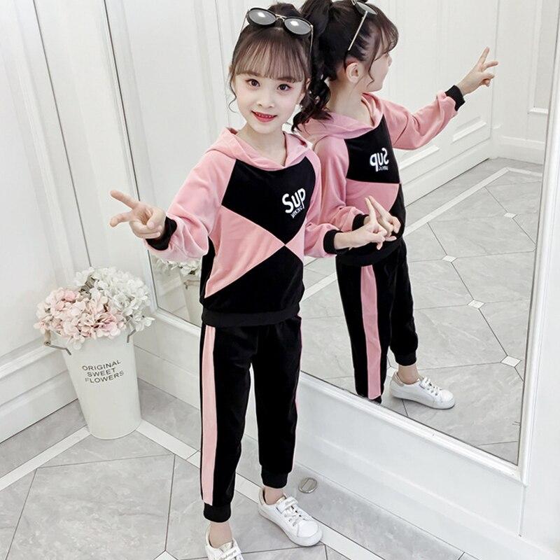 Meninas roupas de manga comprida com capuz terno de roupas esportivas primavera outono moda costura tops calças 3-10 qualidade kidswear wear 2019 vender