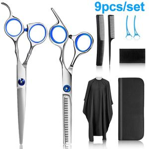 9PCS Hairdressing Scissors Flat Scissors Teeth Scissors Thinning Hair Salon Children Home Hairdressing Tool Set