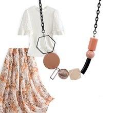Match-right acrílico grânulos colar & pingente para mulher geométrica madeira grânulo colar vintage femal jóias para festa de presente