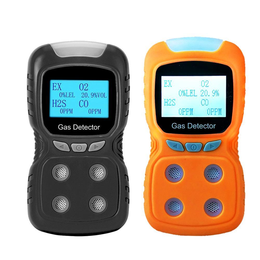 LCD 4 في 1 كاشف إنذار الغاز السامة CO O2 H2S شاشة عرض نسبة الأكسجين في الدّم الغاز محلل متر USB قابلة للشحن الرقمية كاشف الغاز