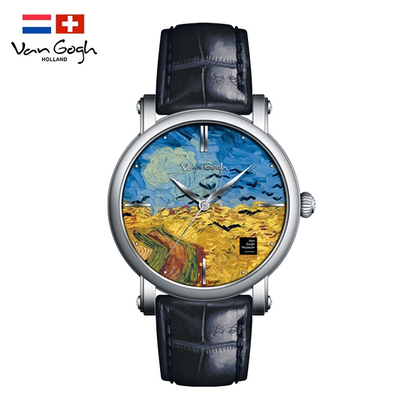 Van Gogh Watches Men Sports Stainless Steel Case Leather Strap Men Watch Quartz Business Wristwatch 3D oil painting reloj hombre