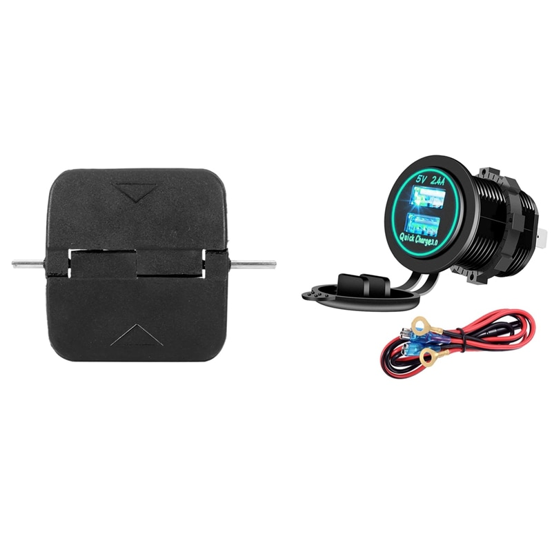 1 Set Motorcycle Dual USB Charger with LED Indicator & 1 Pcs Window Glass Opener Grip Release Lever Push Button Cover