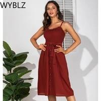 wyblz 2021 summer womens fashion midi dress black spaghetti straps backless ladies casual dresses elegant evening party dress