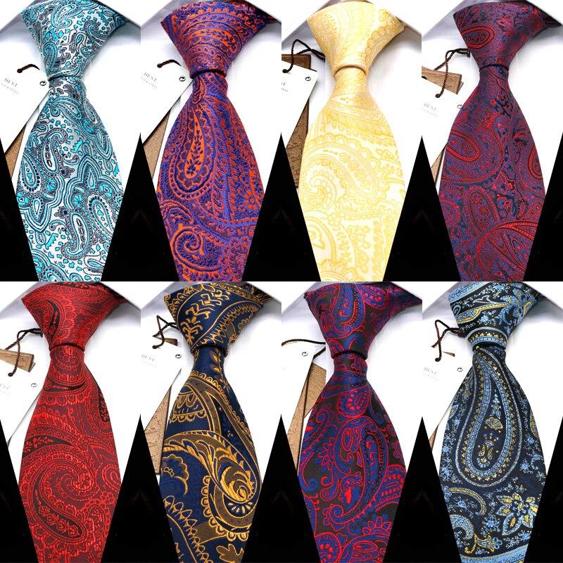 wedding men s tie 8cm red stripe dot neck ties for men blue soild necktie classic business tie gravat accessories gift for men YISHLINE Classic 8CM Width Men Tie Fashion Paisley Business Necktie Blue Mens Ties Red Wedding Corbatas Para Hombre Accessories