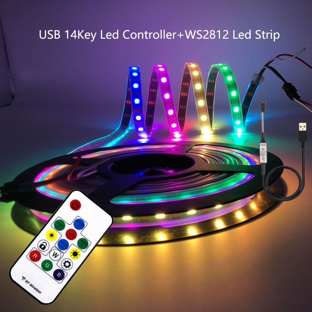 USB RGB LED רצועת WS2812B מיעון פיקסל קלטת 14 מפתחות Led מרחוק בקר עבור טלוויזיה חזרה תחת קבינט מנורת DC5V 1m/2m/3m/4m/5m