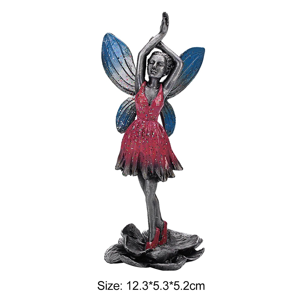 Metal Flower Fairy Sculpture Art Statues Electroplating Alloy Statue Living Room Figurine Garden Ornament Home Decor