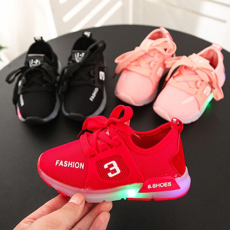 2020 Children Girls Boys Shoes Toddler Infant Kids Shoes Letter Crystal Led Light Luminous Running Sport Shoes Sneakers 21-30