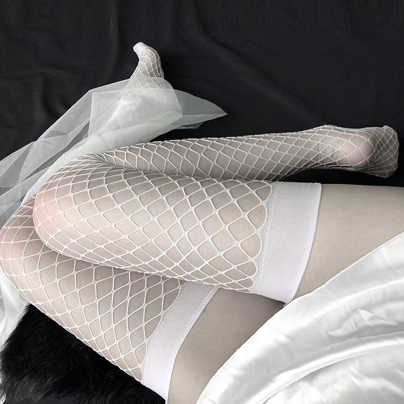 المرأة مثير الجوارب البقاء حتى الفخذ العليا جوارب السيدات الجوف خارج شبكة شبكات جوارب شبكية أسود أبيض جوارب طويلة من النايلون