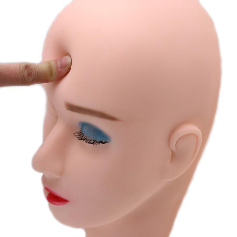 Soft Massage Flat Mannequin Head Makeup Practice Professional Dolls Head Training Cosmetology Heads Eyelash Extension Mannequin