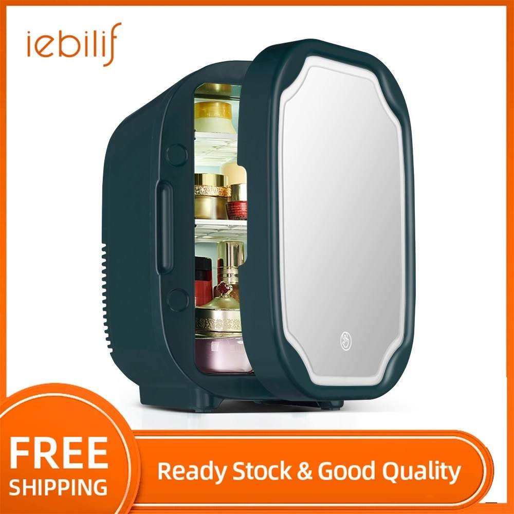 8L Multi-fuction Cosmetics Fridge Mini Home Car Dual Use Fridge with LED Mirror Cooling&Heating Freezer Makeup Refrigerator