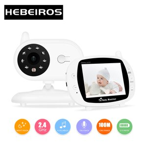 Hebeiros Talk Back Battery Security Nanny Wireless Camera Portable 3.5Inch Video Baby Monitor Night Vision Feeding Time Reminder